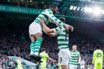 Celtic's Olivier Ntcham celebrates scoring his side's second goal of the game during the Ladbrokes Scottish Premiership match between Celtic and Hibernian at Celtic Park, Glasgow on October 20, 2018.