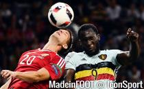 Hungary's Richard Guzmics and Belgium's Romelu Lukaku fights for the ball during a soccer game between Belgian national soccer team Red Devils and Hungary, in the round of 16 of the UEFA Euro 2016 European Championships, on Sunday 26 June 2016, in Toulous