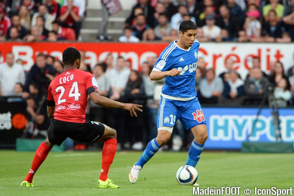 Abdelaziz Barrada, vendredi dernier, lors de la défaite de l'OM à Guingamp.
