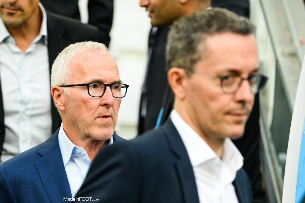 Frank McCourt, le propriétaire de l'OM, ici aux côtés de Jacques-Henri Eyraud, son ancien président.