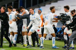 Les joueurs marseillais célébrant un but
