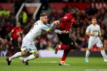 Derby County's Richard Keogh gets hold of Manchester United's Romelu Lukaku during the Carabao Cup, third round match at Old Trafford, Manchester on 25th September 2018