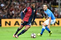 Olivier Ntcham and Arkadiusz Milik during the Serie A match between Genoa and Napoli on 21th September 2016